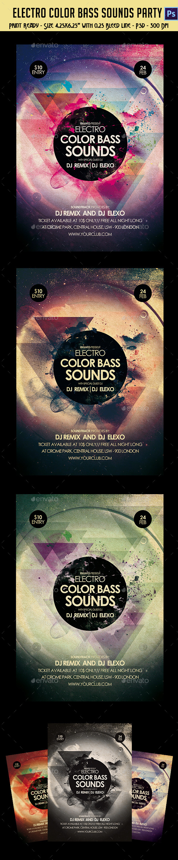 GraphicRiver Electronic Color Bass Sounds Party Flyer 10356960