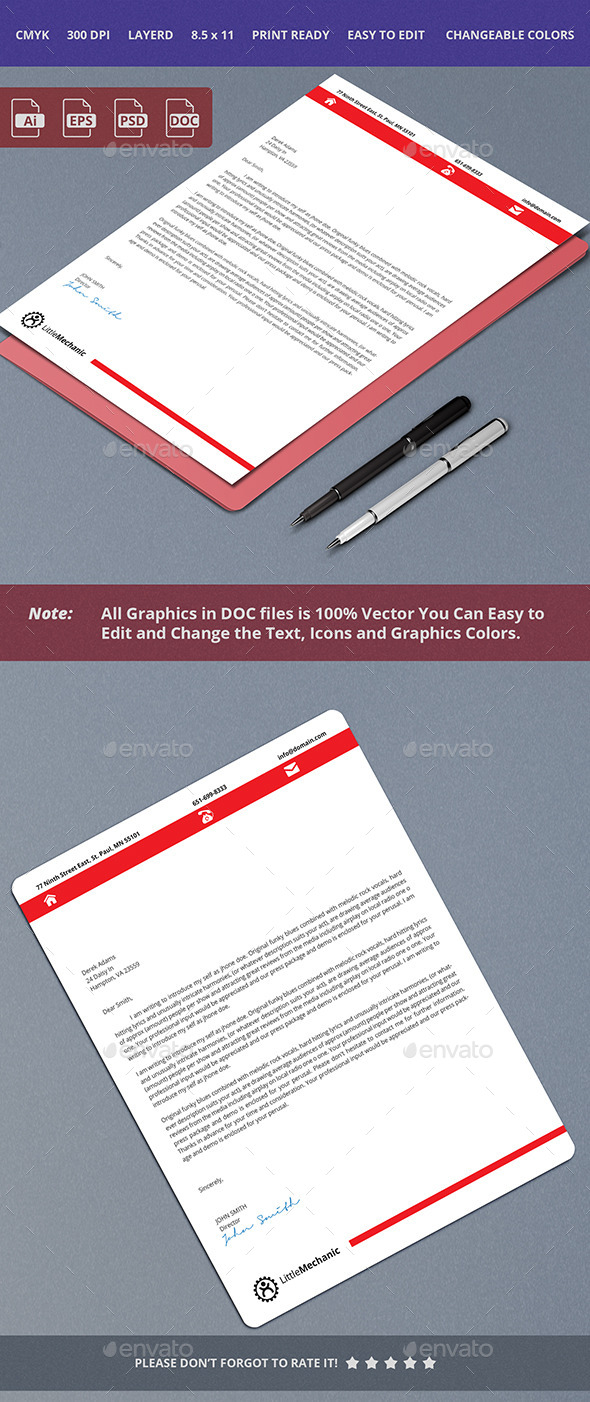 GraphicRiver Simple and Crean Letterhead Design 10357118