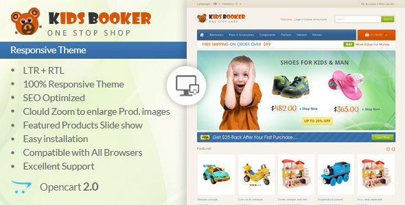 Kids Bookers - Opencart Responsive Theme