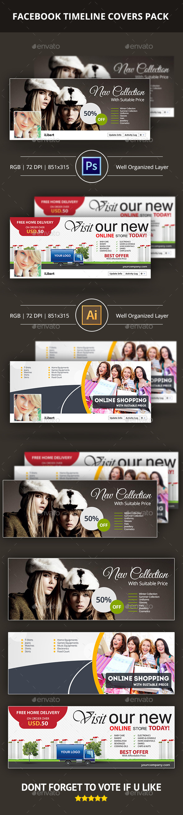 GraphicRiver Facebook Covers Pack 10310165