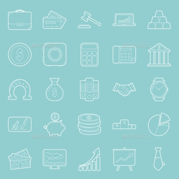 GraphicRiver Buisiness and Finance Thin Lines Icons Set 10358203
