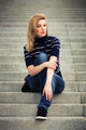 Young fashion woman sitting on the steps - PhotoDune Item for Sale