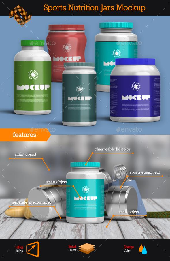 GraphicRiver Sports Nutrition Jars Mockup 10358993