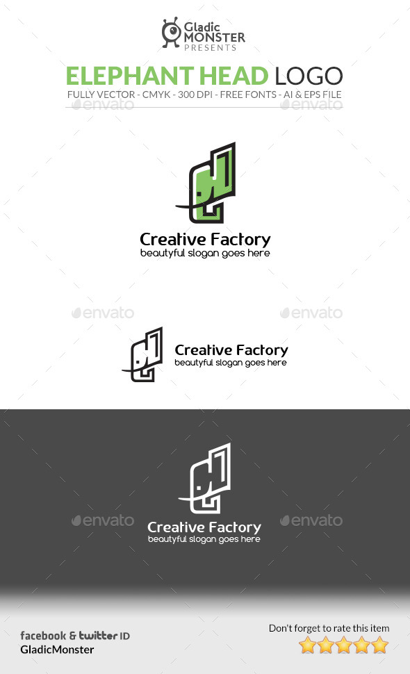 GraphicRiver Elephant Head Logo 10359196