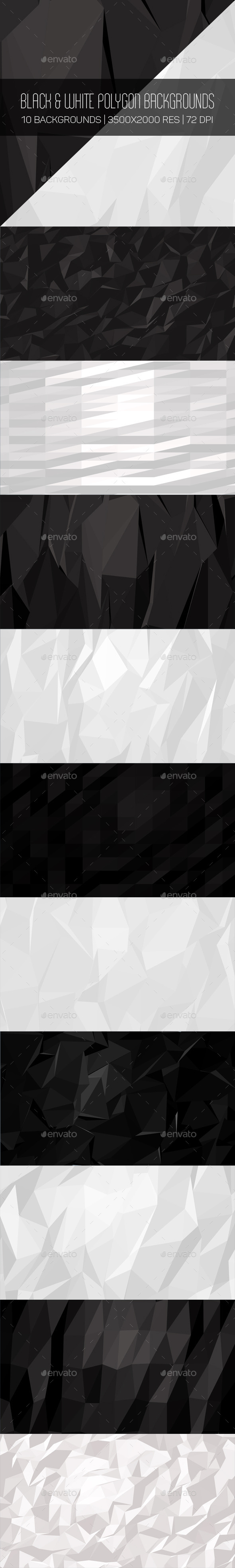 GraphicRiver Black & White Polygon Backgrounds 10359381
