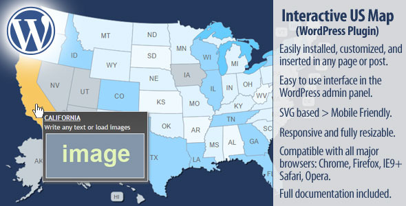 CodeCanyon Interactive US Map WordPress Plugin 10359489