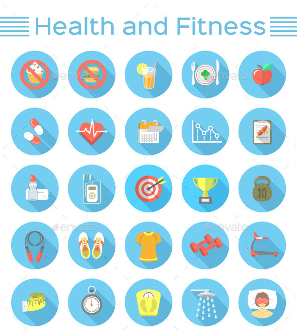 GraphicRiver Modern Flat Fitness and Wellness Icons 10359570