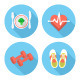 Modern Flat Fitness and Wellness Icons - GraphicRiver Item for Sale