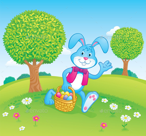 GraphicRiver Easter Bunny Carrying Basket Scene 10359591