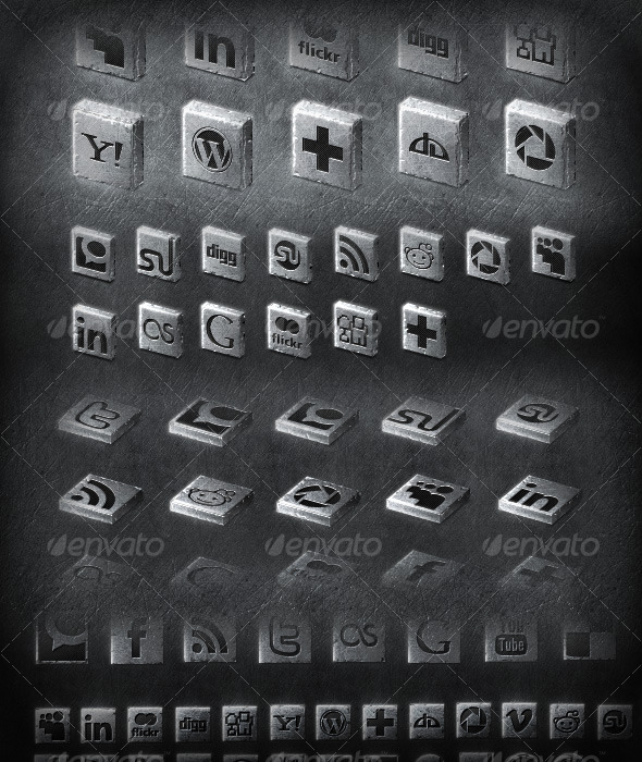20+ metal 2D & 3D social icons set - Web Icons