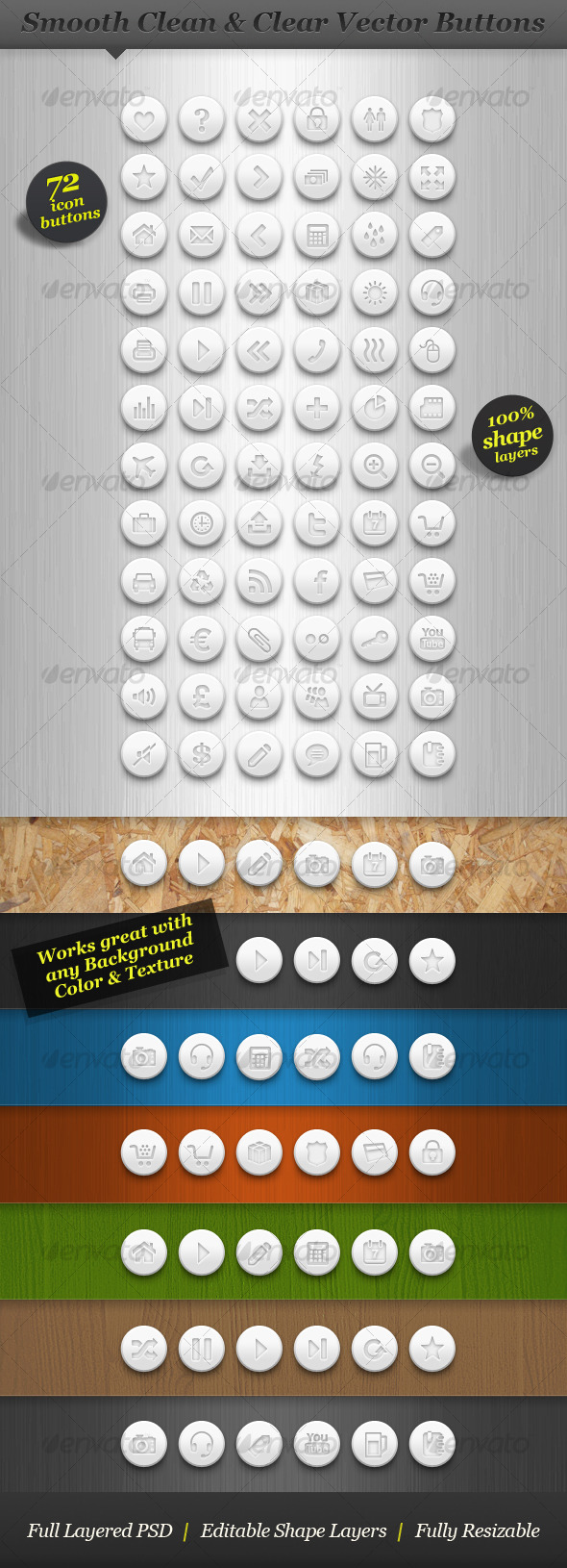 GraphicRiver Clean white round icon set vector web buttons 130590