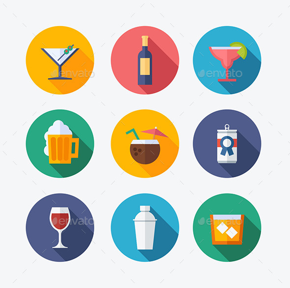 GraphicRiver Cocktail Flat Icons 10361217