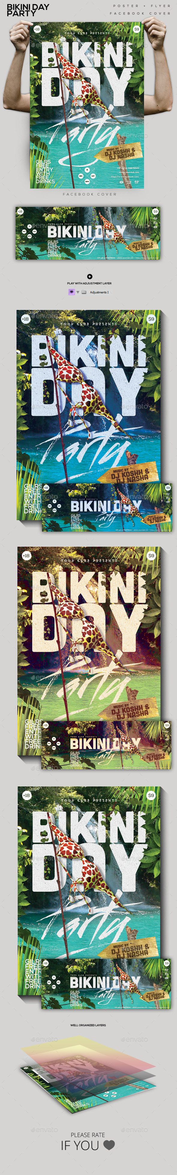 GraphicRiver Bikini Day Party Flyer Poster FB Cover 10361502