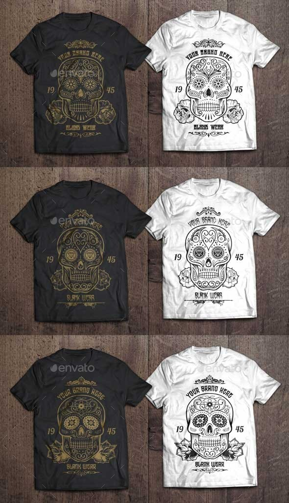 GraphicRiver 3 T-Shirt Illustration Sugar Skull Vol.1 10361519
