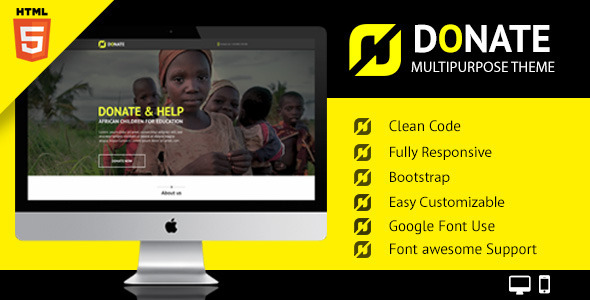 ThemeForest Donate Multipurpose Nonprofit HTML Site Template 10306205