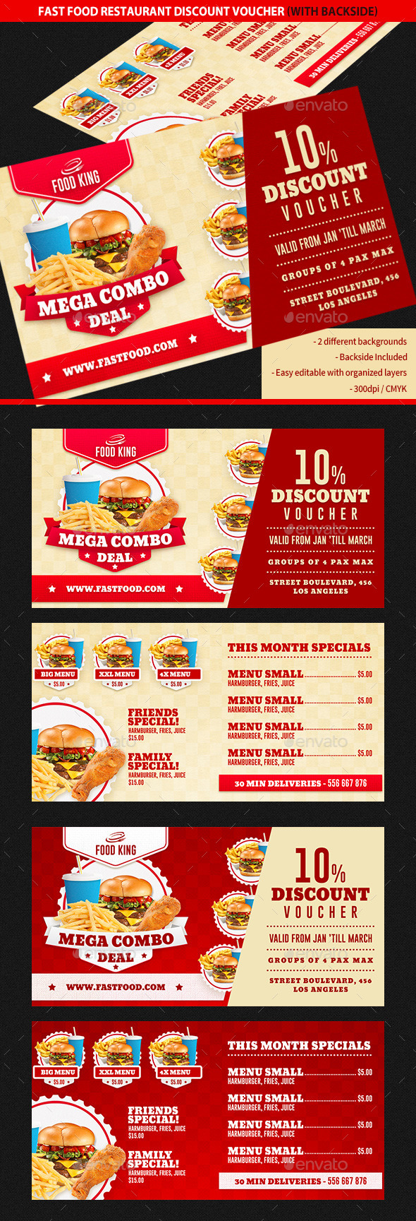 GraphicRiver Restaurant Fast Food Discount Voucher 10362049