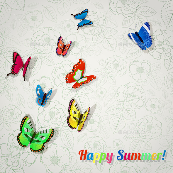 GraphicRiver Background with Colorful Butterflies 10362404