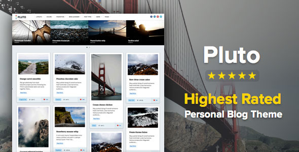 Pluto Clean Personal WordPress Masonry Blog Theme Download