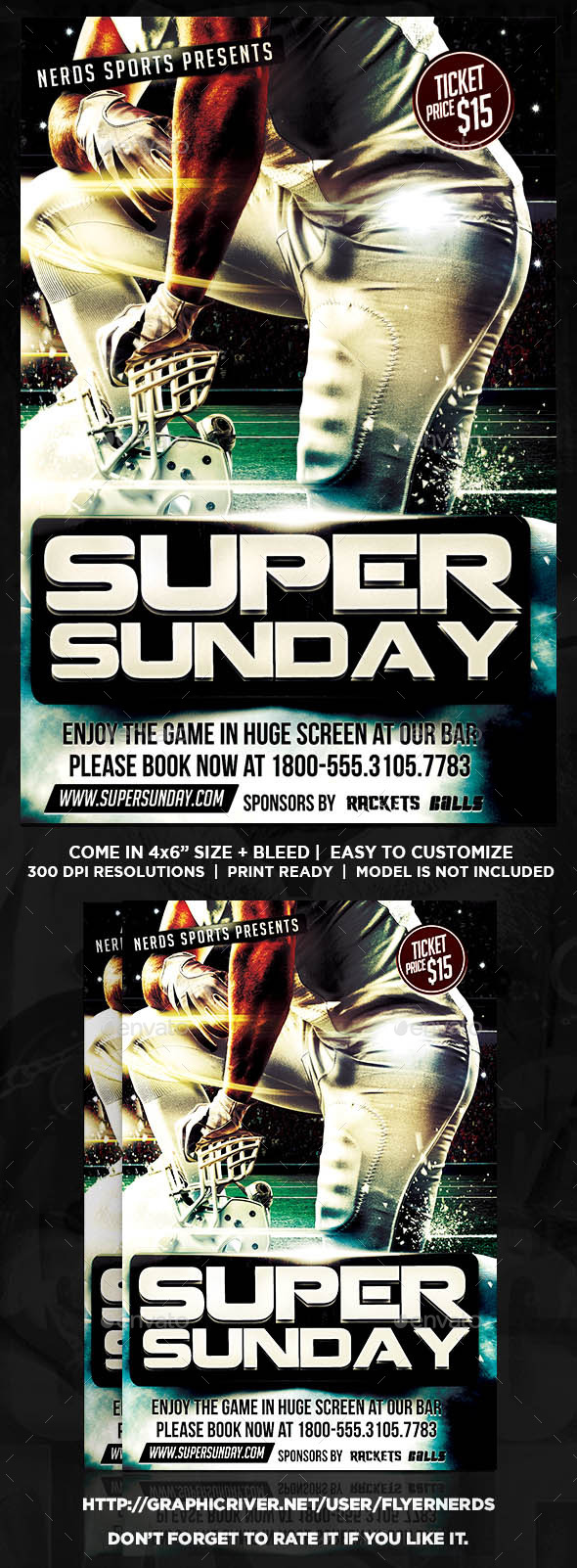 GraphicRiver Super Sunday Football Sports Flyer 10363346