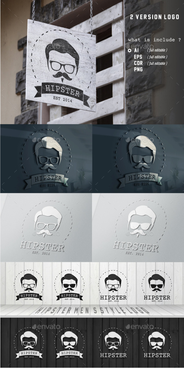 GraphicRiver Hipster Men s Style Logo 10173668