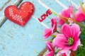 heart and flower on wooden board, Valentines Day background - PhotoDune Item for Sale