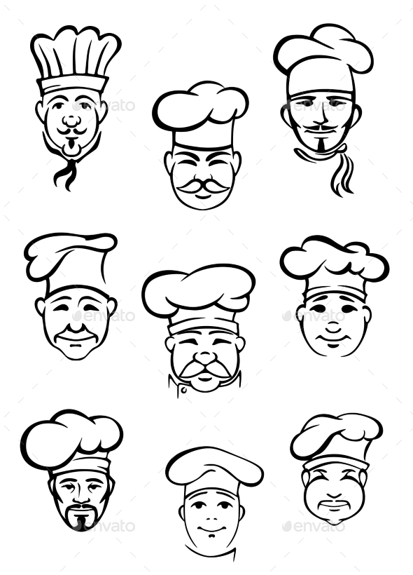 GraphicRiver Collection of Chefs in Traditional Toques 10363585