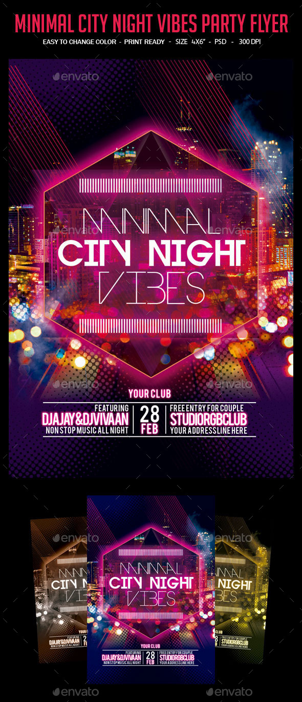 GraphicRiver Minimal City Night Vibes Party Flyer 10363606