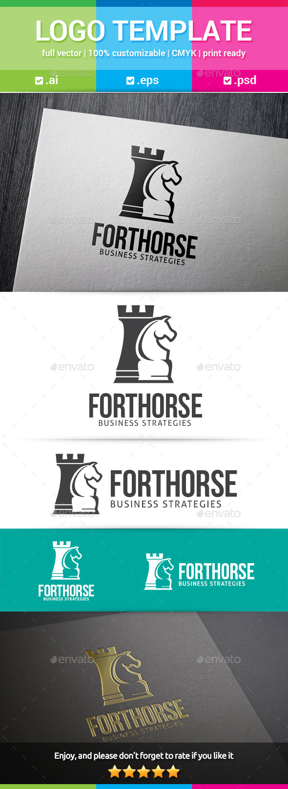 GraphicRiver Fort Horse Chess Logo 10363693