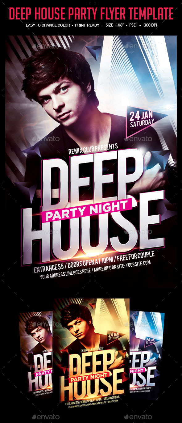 GraphicRiver Deep House Party Flyer Template 10364147