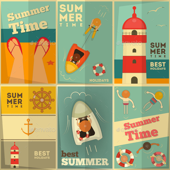 GraphicRiver Summer Holidays Posters Set 10364355