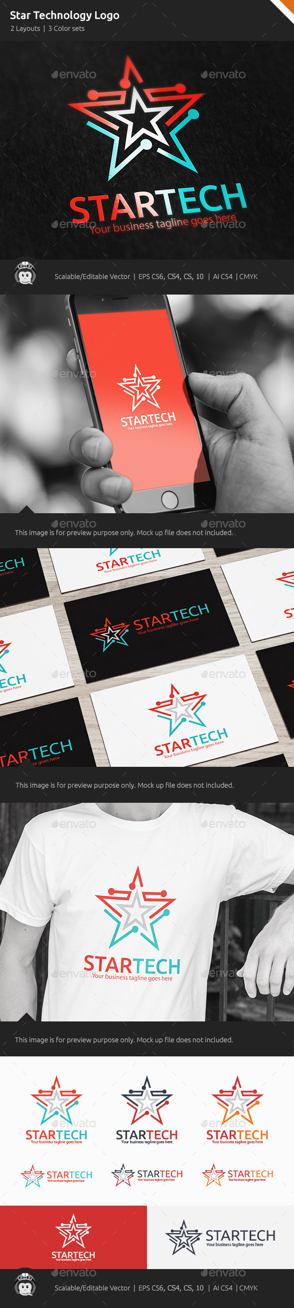 GraphicRiver Star Technology Logo 10364927