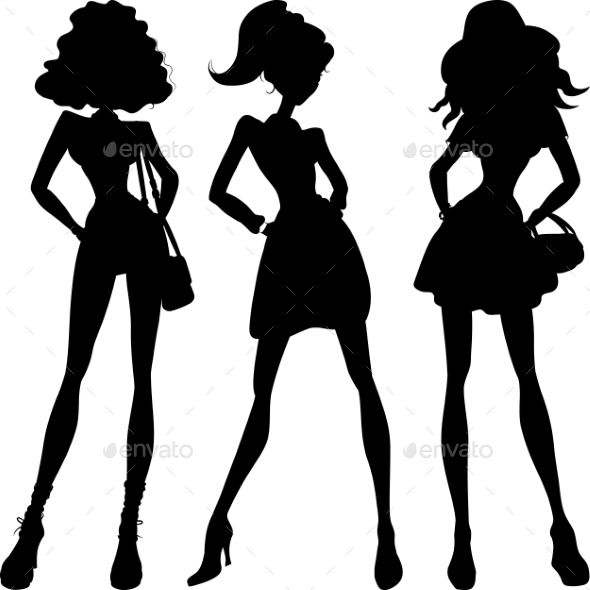 GraphicRiver Silhouette Fashion Girls Top Models 10365694