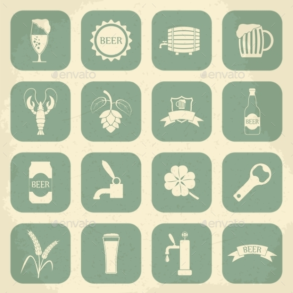 GraphicRiver Retro Beer Icons Set 10365883