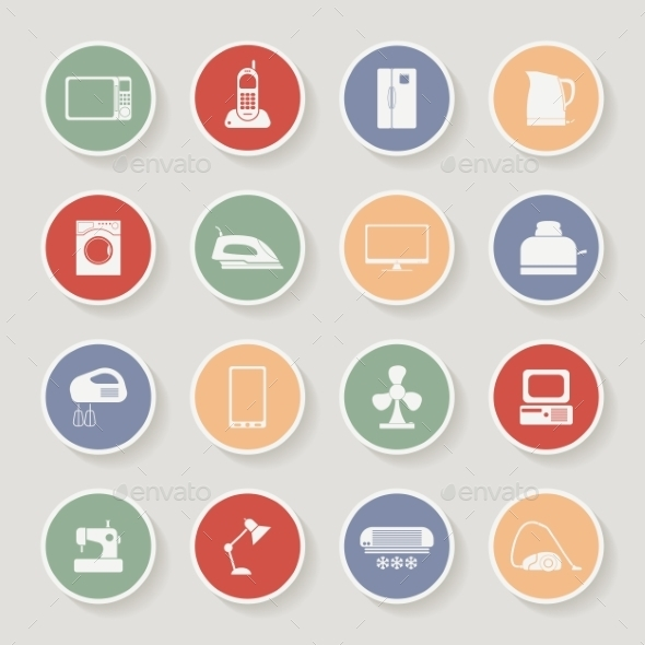 Round Home Appliances Icons