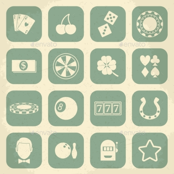 GraphicRiver Casino Retro Icons Set 10365886
