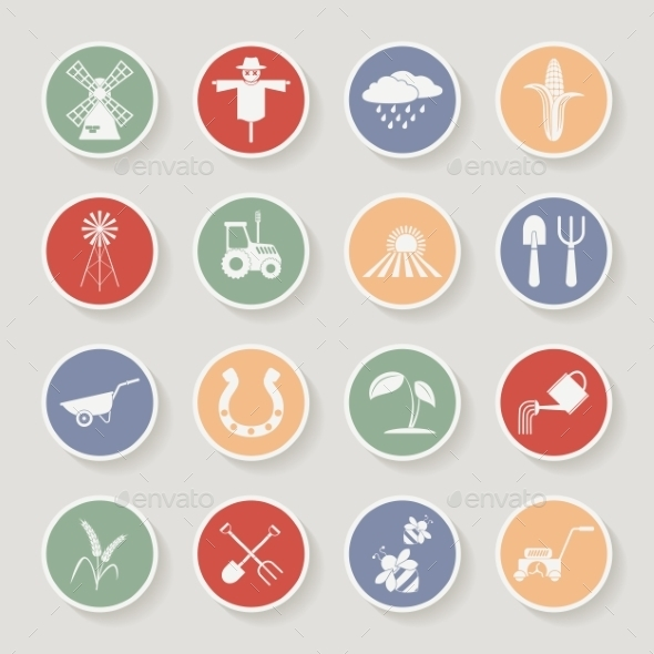 GraphicRiver Farming Round Icons 10365888