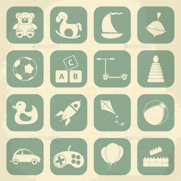 GraphicRiver Retro Children s Toys Icon Set 10365894