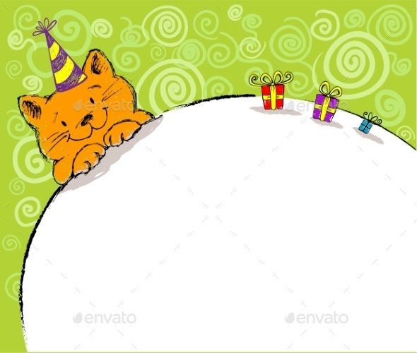 GraphicRiver Greeting Card with Red Cat and Place for Text 10366618