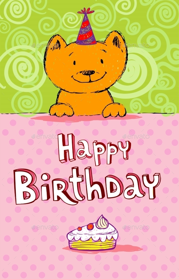 GraphicRiver Birthday Greeting Card with Red Cat 10366621