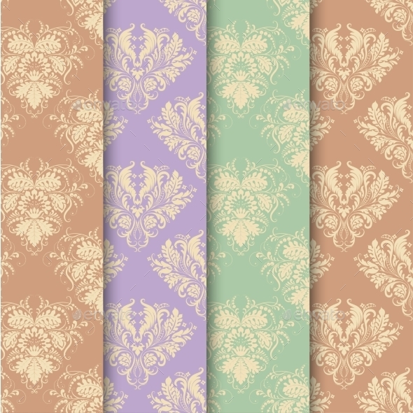 Set of Seamless Background in Vintage Style