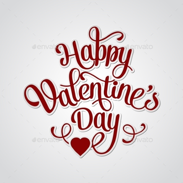 GraphicRiver Happy Valentines Day Vintage Card with Lettering 10367490