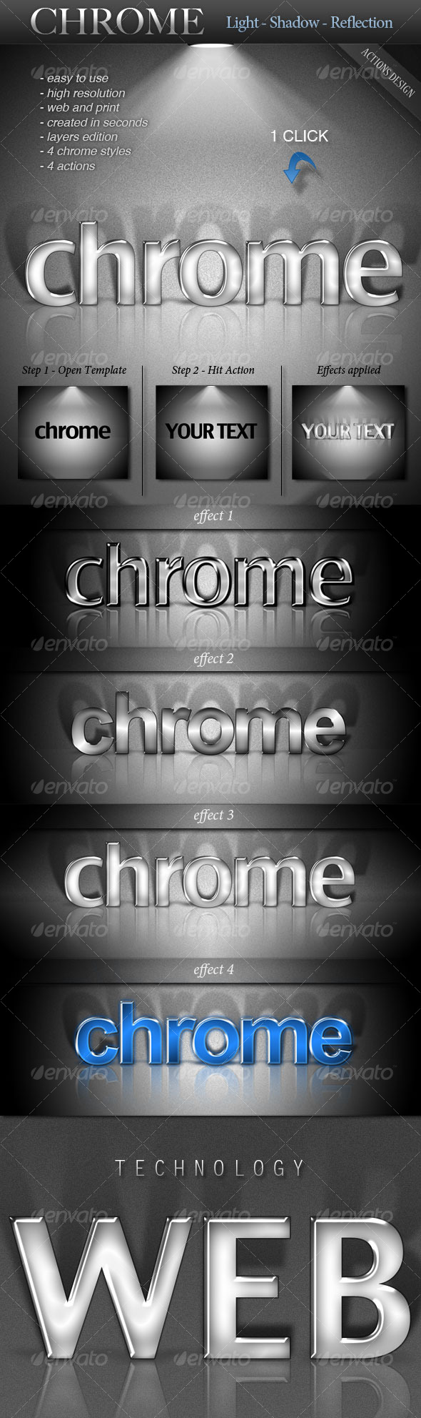 CHROME - Light - Shadow - Reflection - Text Effects Actions