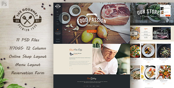 Gourmet - Food & Restaurant PSD Template
