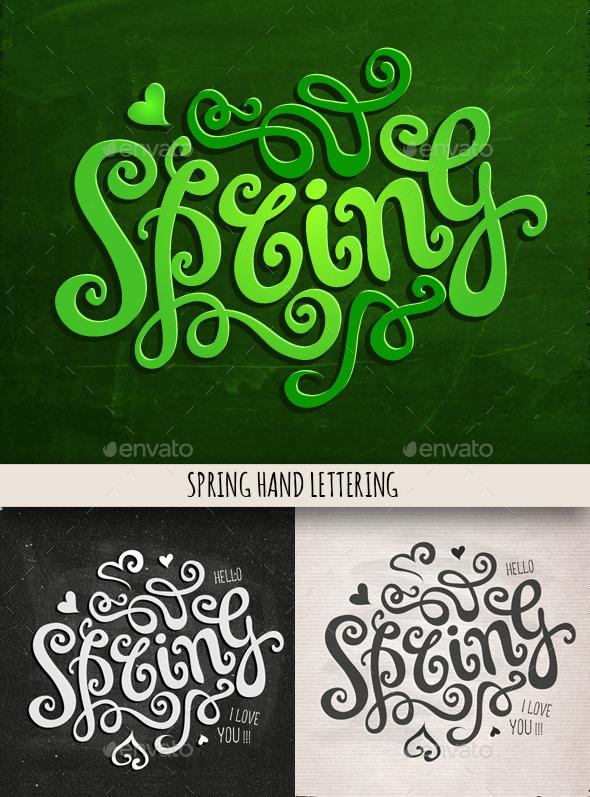 GraphicRiver Spring Hand Lettering Set 10367764