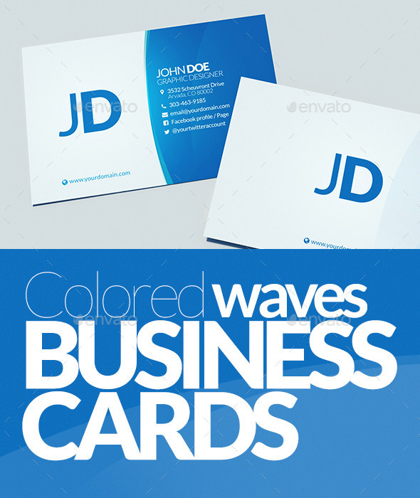 GraphicRiver Colored Waves Business Cards 10367815