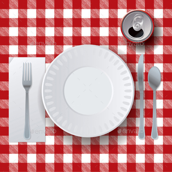 GraphicRiver Vector Picnic Casual Dining Placesetting 10368078