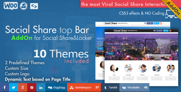 Social Share top Bar AddOn WordPress