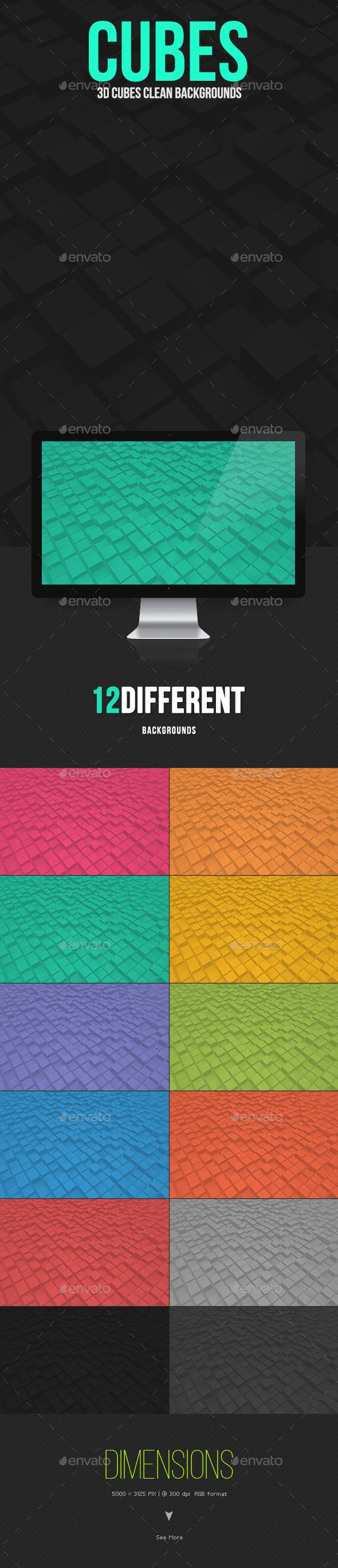 GraphicRiver 3D Cubes Clean Backgrounds 10368213