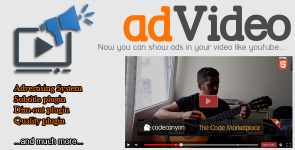 CodeCanyon adVideo Player HTML5 Video Player with Ads 10368504