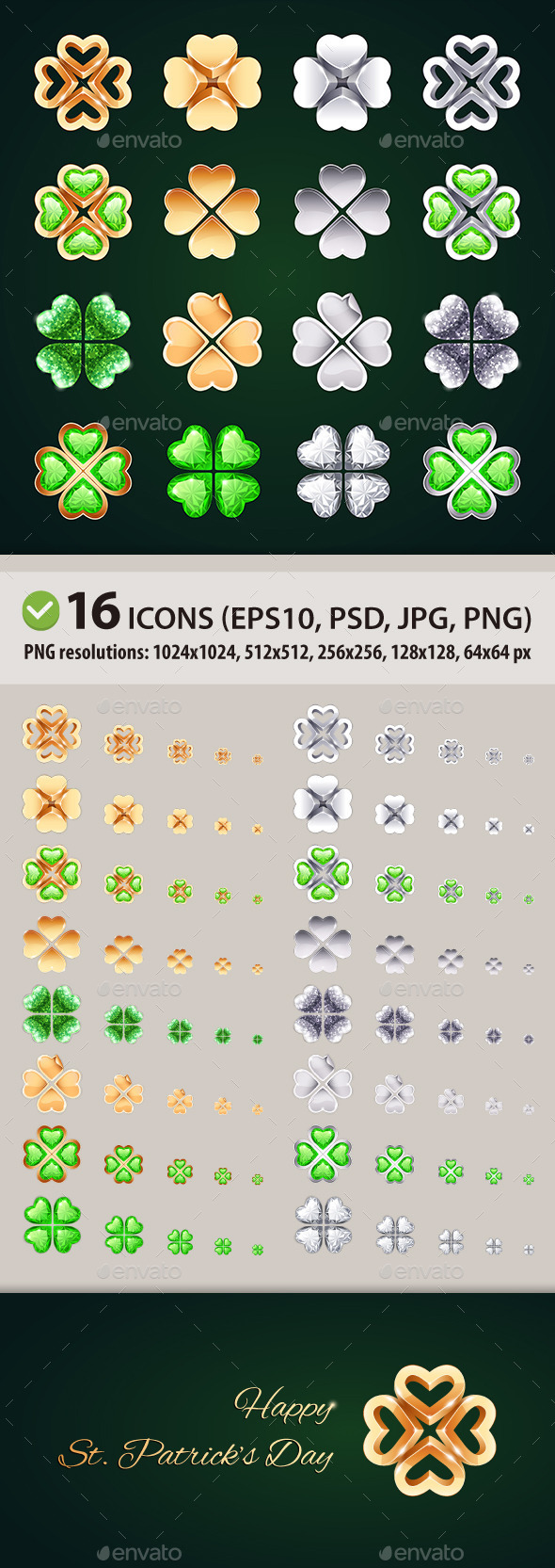 GraphicRiver Vector Golden and Silver Four-leaf Clovers 10369055